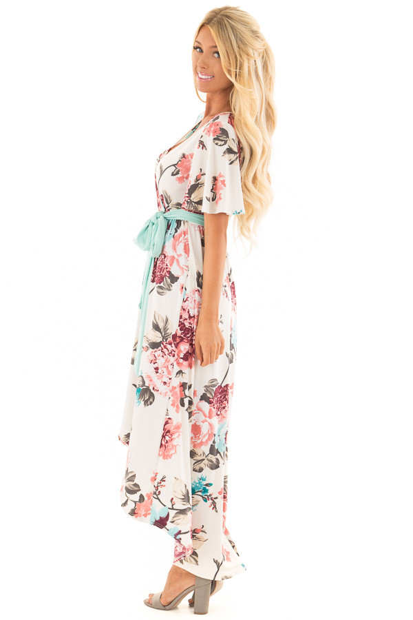 Ivory Floral Print High Low Maxi Dress with Hidden Pockets side full body