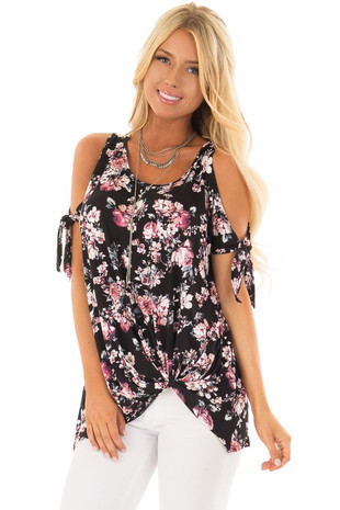 Black Floral Print Cold Shoulder Top with Twisted Hem front close up