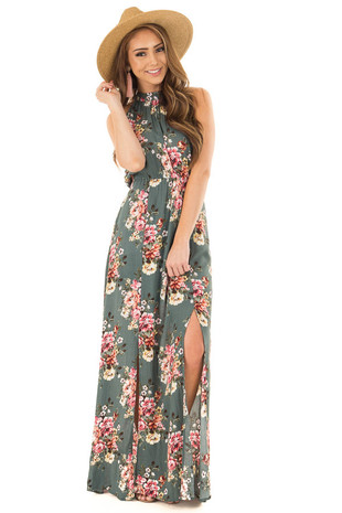 Sage Halter Tie Back Floral Maxi Dress with Front Slits front full body
