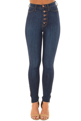 Dark Stone Wash High Waisted Denim with Side Zipper Detail front view