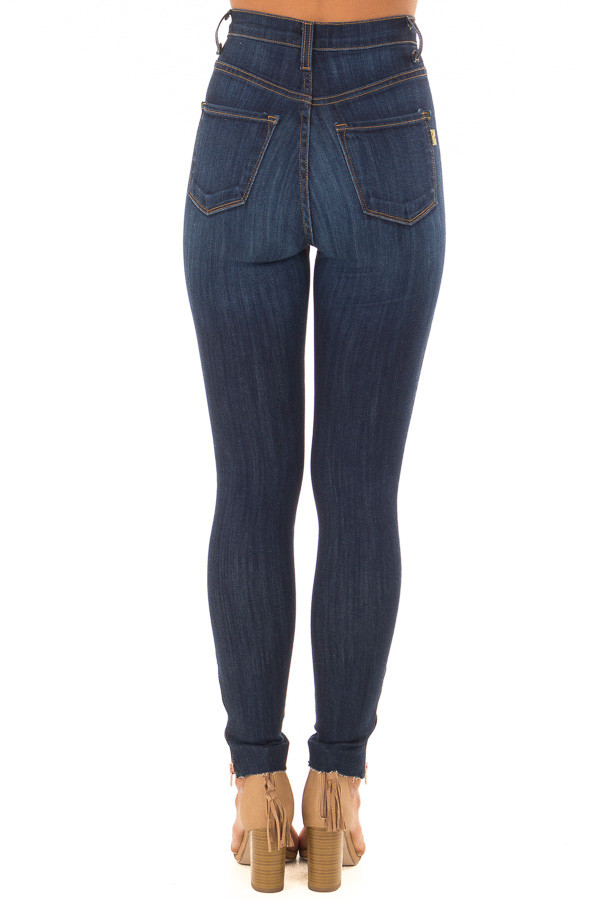 Dark Stone Wash High Waisted Denim with Side Zipper Detail back view
