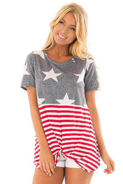 Americana Navy Red and White Short Sleeve Tee front close up