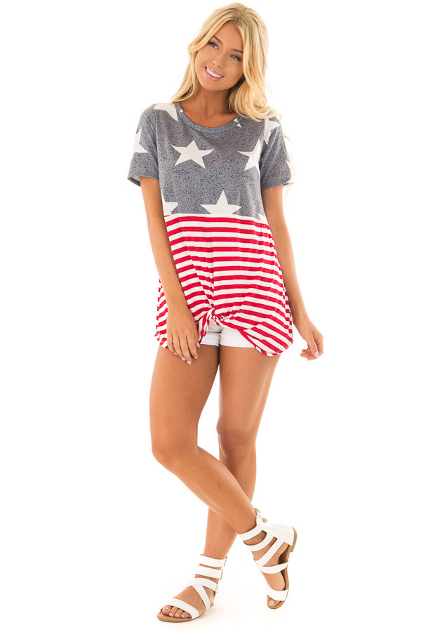 Americana Navy Red and White Short Sleeve Tee front full body
