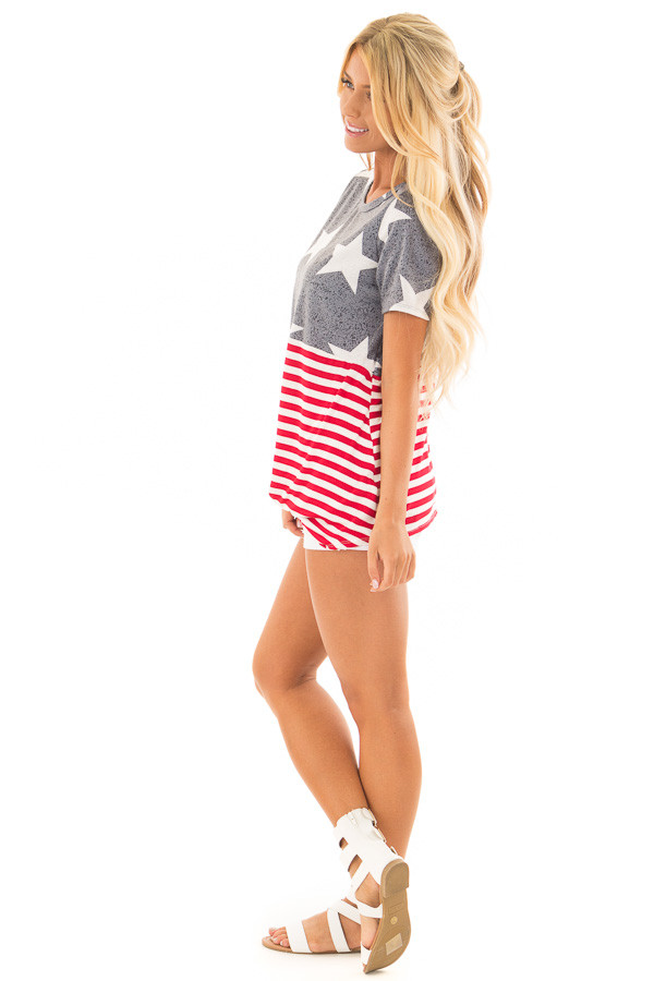 Americana Navy Red and White Short Sleeve Tee side full body