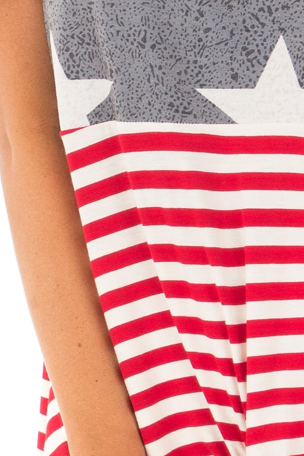 Americana Navy Red and White Short Sleeve Tee detail