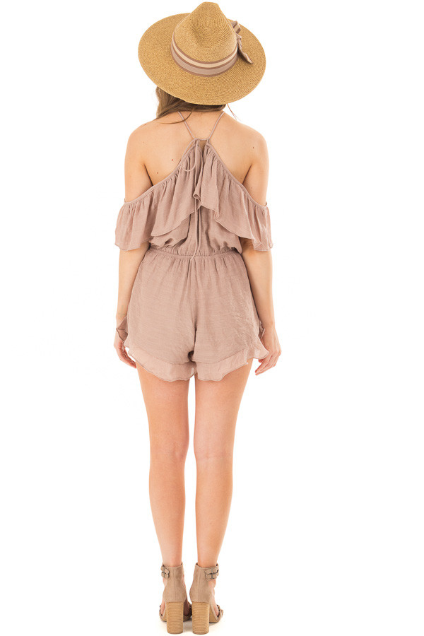 Dusty Mauve Halter Romper with Ruffle Overlay Detail back full body