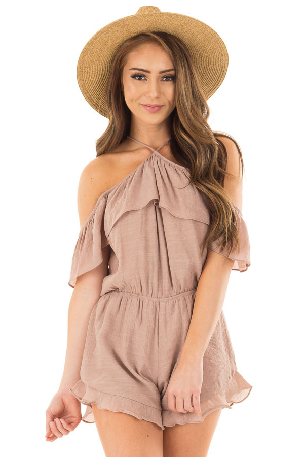 Dusty Mauve Halter Romper with Ruffle Overlay Detail front close up