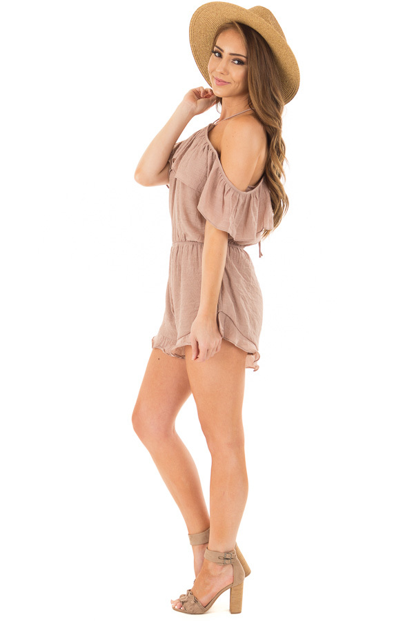 Dusty Mauve Halter Romper with Ruffle Overlay Detail side full body