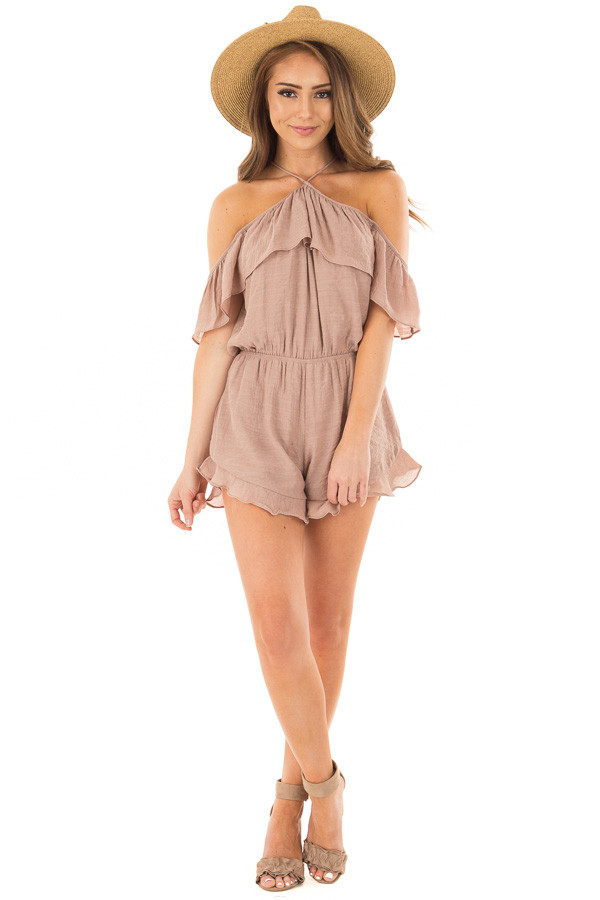 Dusty Mauve Halter Romper with Ruffle Overlay Detail front full body