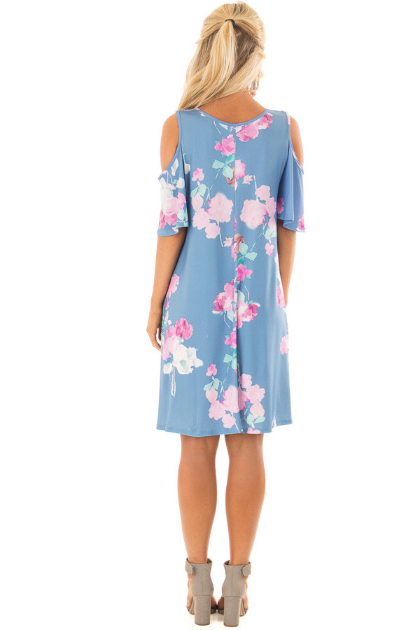 Seafoam Watercolor Cold Shoulder Floral Dress with Pockets back full body