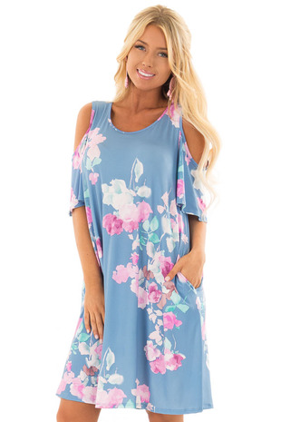 Seafoam Watercolor Cold Shoulder Floral Dress with Pockets front close up