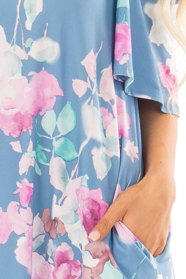 Seafoam Watercolor Cold Shoulder Floral Dress with Pockets detail