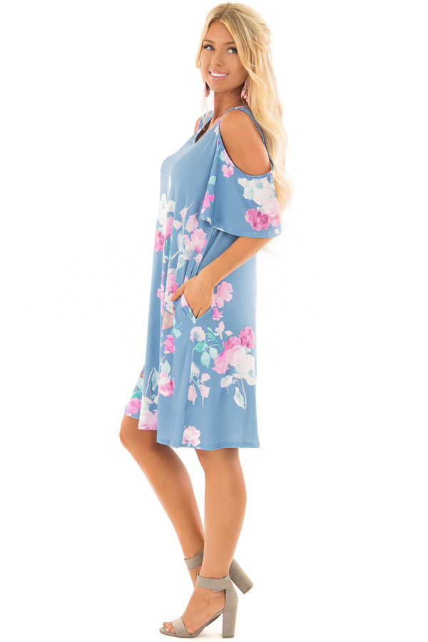 Seafoam Watercolor Cold Shoulder Floral Dress with Pockets side full body