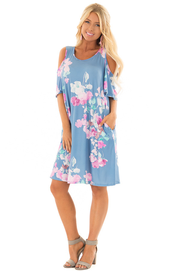 Seafoam Watercolor Cold Shoulder Floral Dress with Pockets front full body