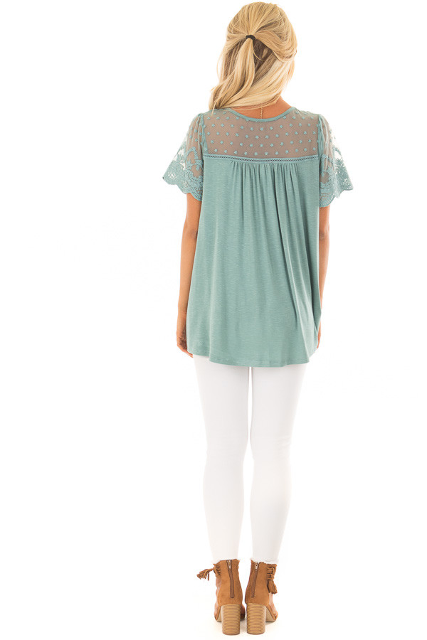 Sage Short Sleeve Top with Sheer Crochet Detail back full body