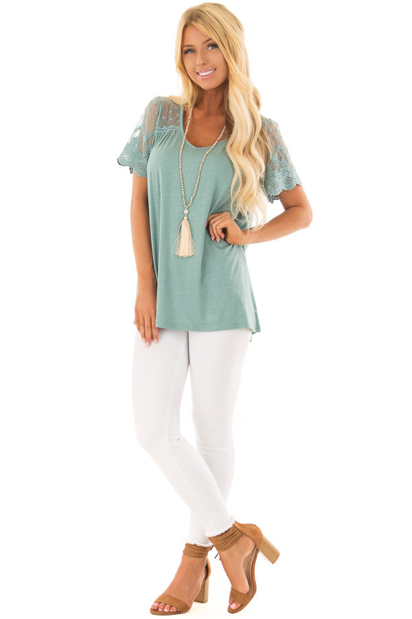 Sage Short Sleeve Top with Sheer Crochet Detail front full body