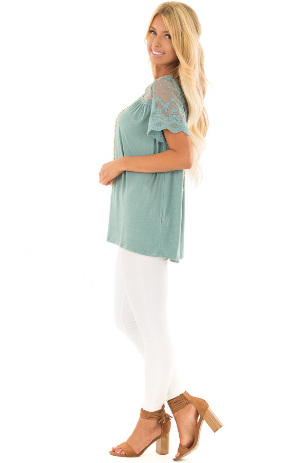 Sage Short Sleeve Top with Sheer Crochet Detail side full body