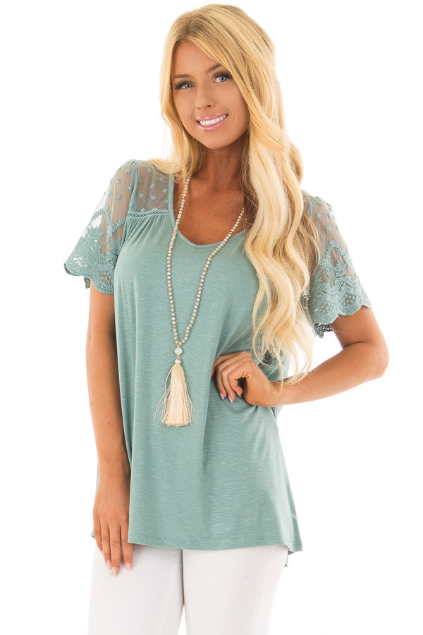 Sage Short Sleeve Top with Sheer Crochet Detail front close up