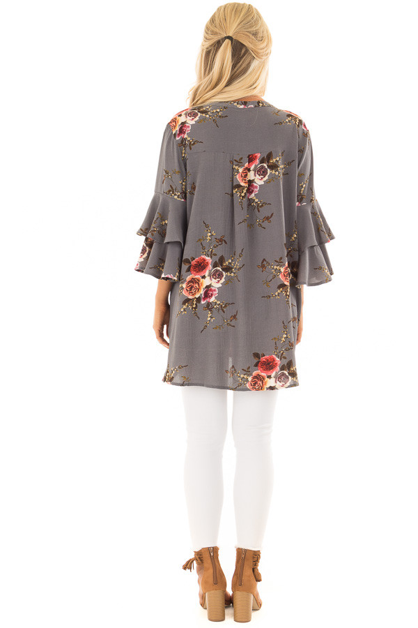 Stone Grey Floral Print Tunic with Layered Bell Sleeves back full body