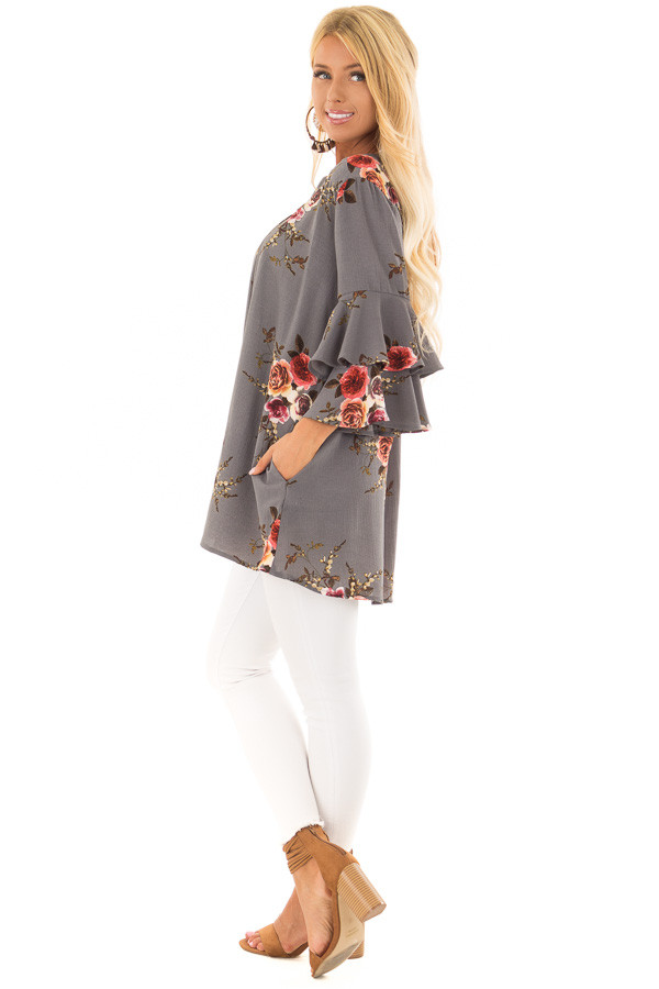 Stone Grey Floral Print Tunic with Layered Bell Sleeves side full body