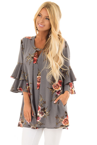 Stone Grey Floral Print Tunic with Layered Bell Sleeves front close up