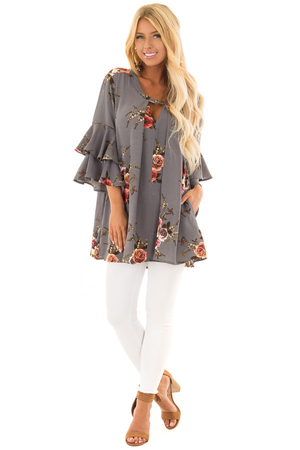 Stone Grey Floral Print Tunic with Layered Bell Sleeves front full body