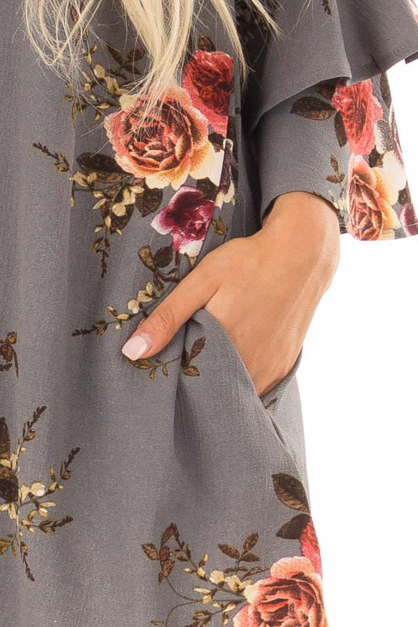 Stone Grey Floral Print Tunic with Layered Bell Sleeves detail