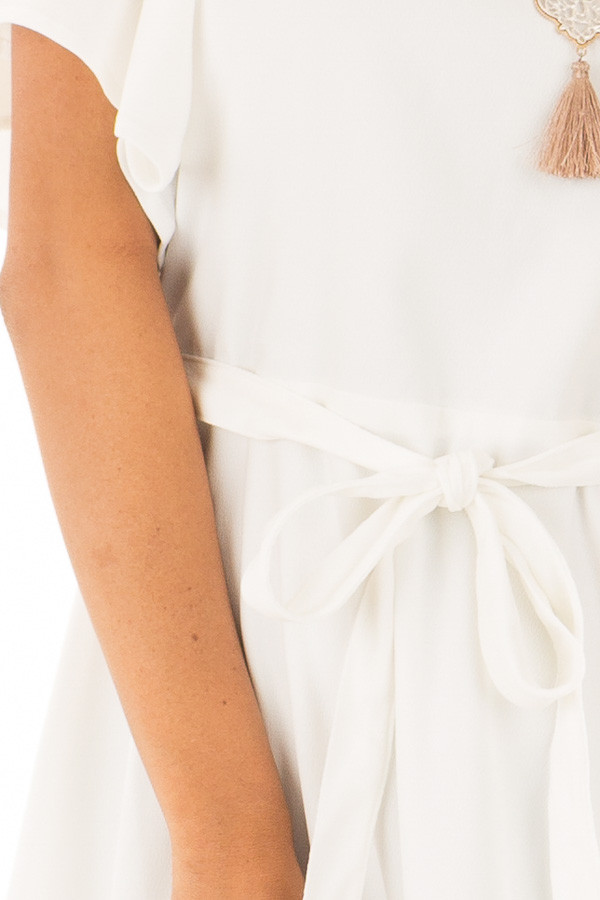 White Dress with Cut Out Back and Waist Tie detail