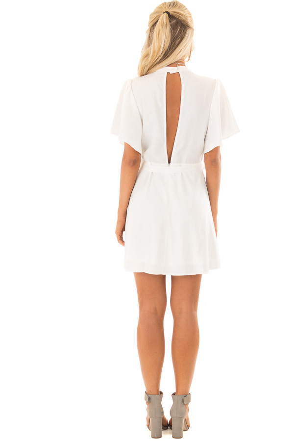 White Dress with Cut Out Back and Waist Tie back full body