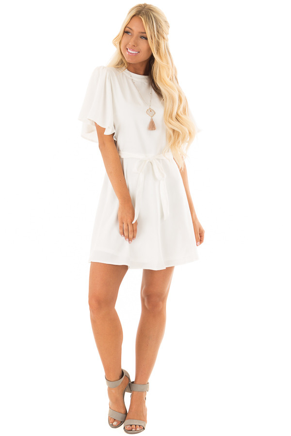 White Dress with Cut Out Back and Waist Tie front full body