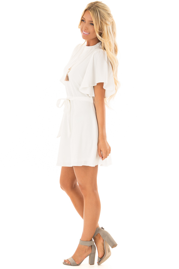 White Dress with Cut Out Back and Waist Tie side full body