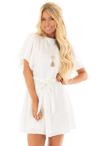 White Dress with Cut Out Back and Waist Tie front close up