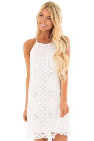 White Spaghetti Strap Dress with Lace Contrast front close up