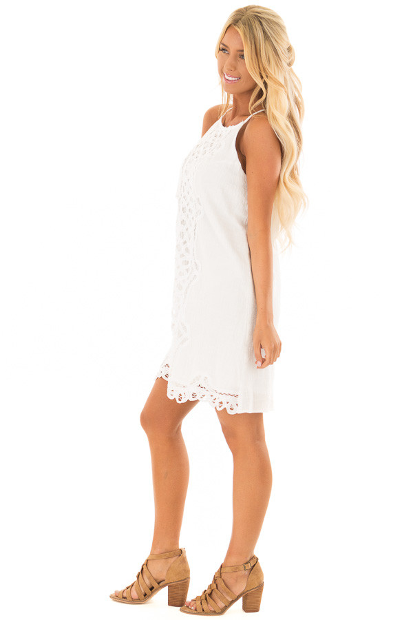 White Spaghetti Strap Dress with Lace Contrast side full body