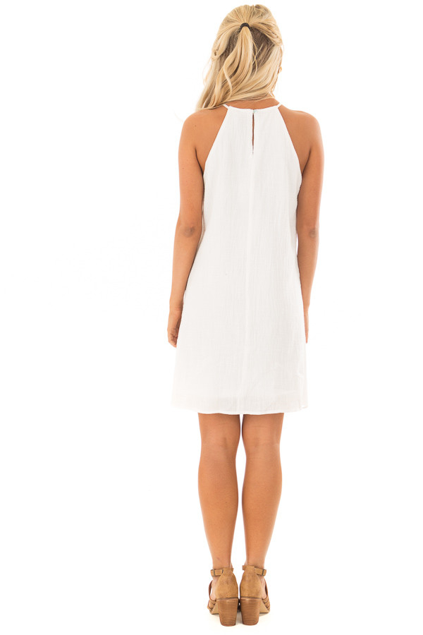 White Spaghetti Strap Dress with Lace Contrast back full body