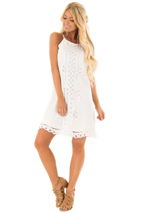 White Spaghetti Strap Dress with Lace Contrast front full body
