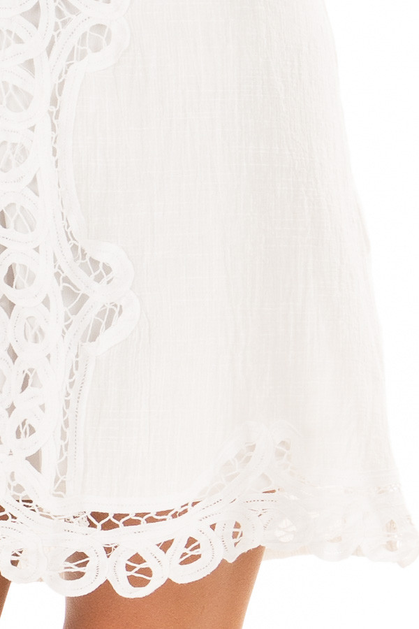 White Spaghetti Strap Dress with Lace Contrast detail