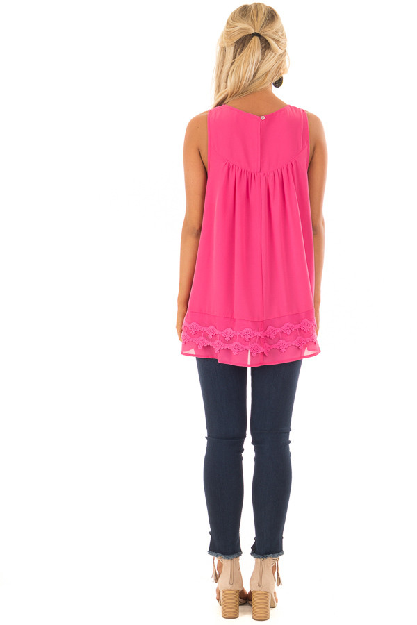 Hot Pink Sleeveless Chiffon Top with Crochet Details back full body