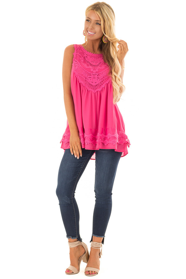 Hot Pink Sleeveless Chiffon Top with Crochet Details front full body