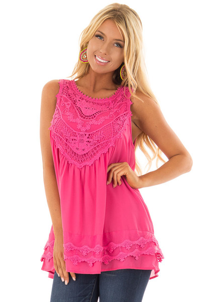 Hot Pink Sleeveless Chiffon Top with Crochet Details front close up