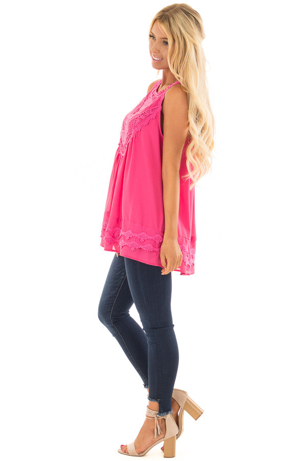 Hot Pink Sleeveless Chiffon Top with Crochet Details side full body