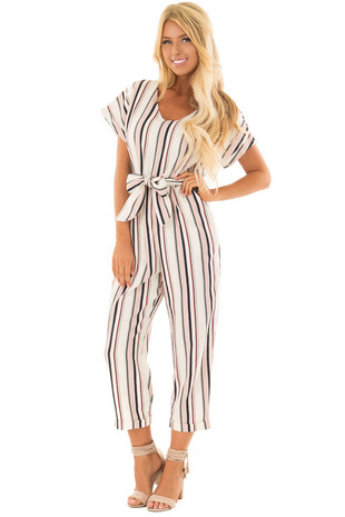 Navy and Red Striped Short Sleeve Jumpsuit with Waist Tie front full body
