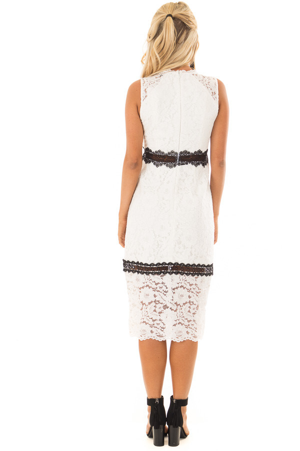 White Sleeveless Lace Midi Dress with Black Contrast Detail back full body