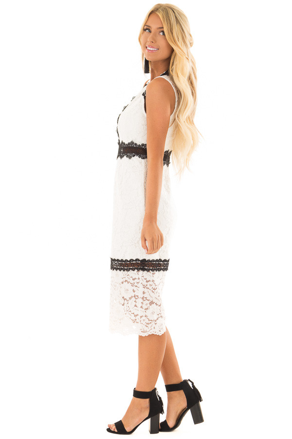 White Sleeveless Lace Midi Dress with Black Contrast Detail side full body