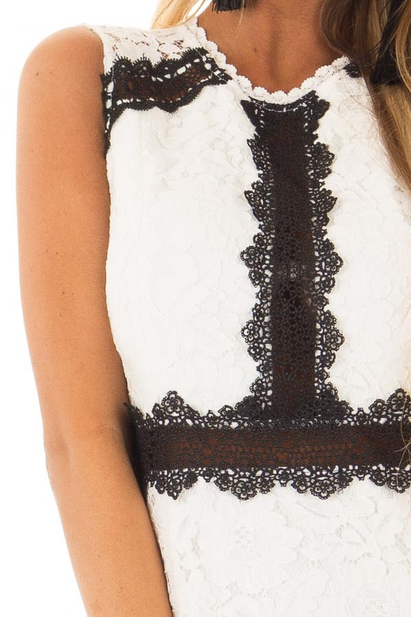 White Sleeveless Lace Midi Dress with Black Contrast Detail detail