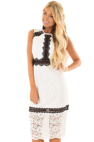 White Sleeveless Lace Midi Dress with Black Contrast Detail front full body