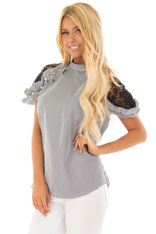 Black Striped Top with Lace Sleeves and Pearl Detail front close up
