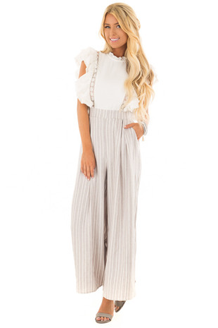 Stone Striped Ruffle Detail Jumpsuit with Pockets front full body