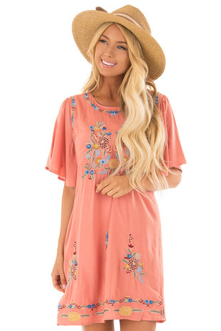 Salmon Embroidered Dress with Short Sleeves front close up