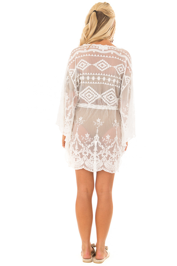 White Sheer Embroidered Dress with Waist Tie Detail back full body
